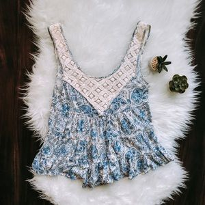 Free People Blue and White Floral Tank w/ Crochet
